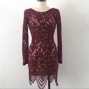 A'gaci eyelash lace bodycon dress